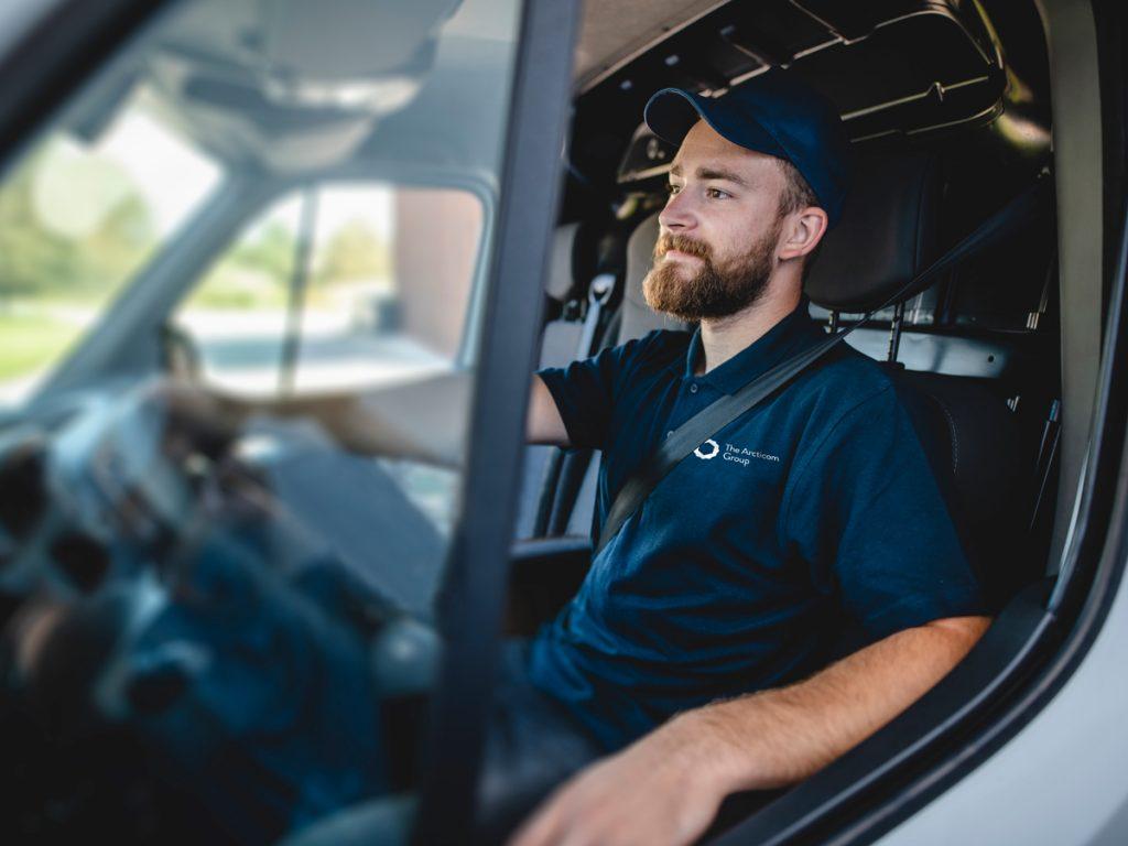 Service technician driving